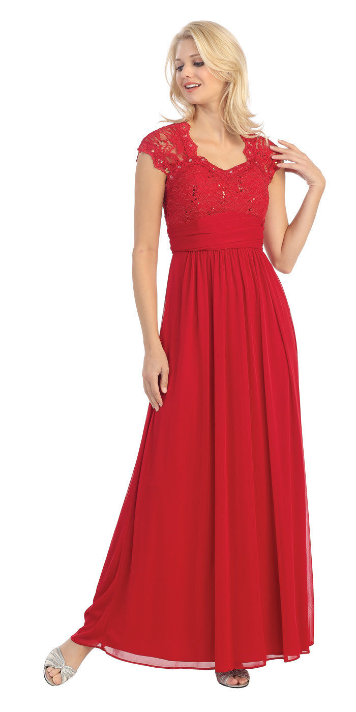 Sweetheart Neck Lace Bodice Red Floor Length Dress