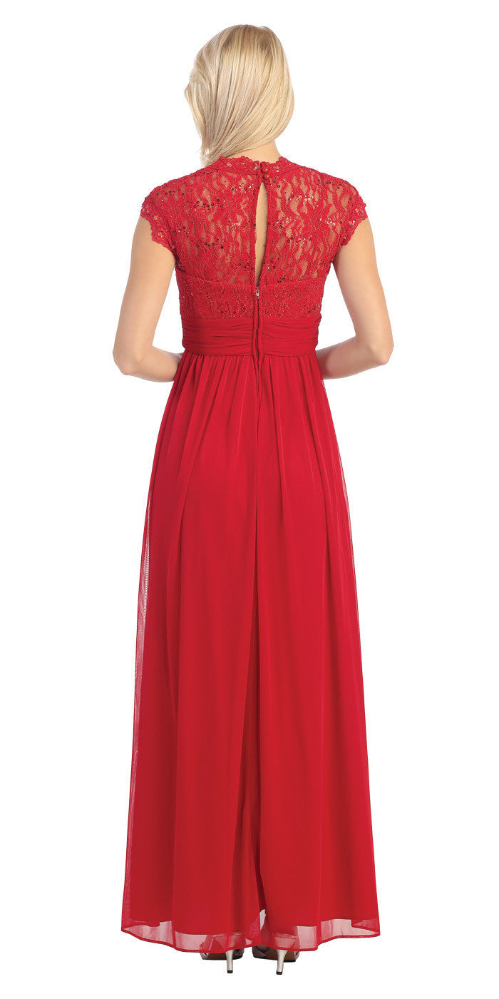 Sweetheart Neck Lace Bodice Red Floor Length Dress Back