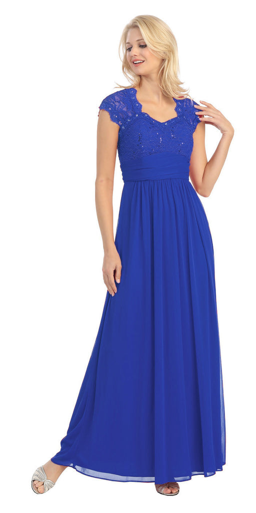 Sweetheart Neck Lace Bodice Royal Blue Floor Length Dress