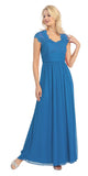 Sweetheart Neck Lace Bodice Teal Floor Length Dress