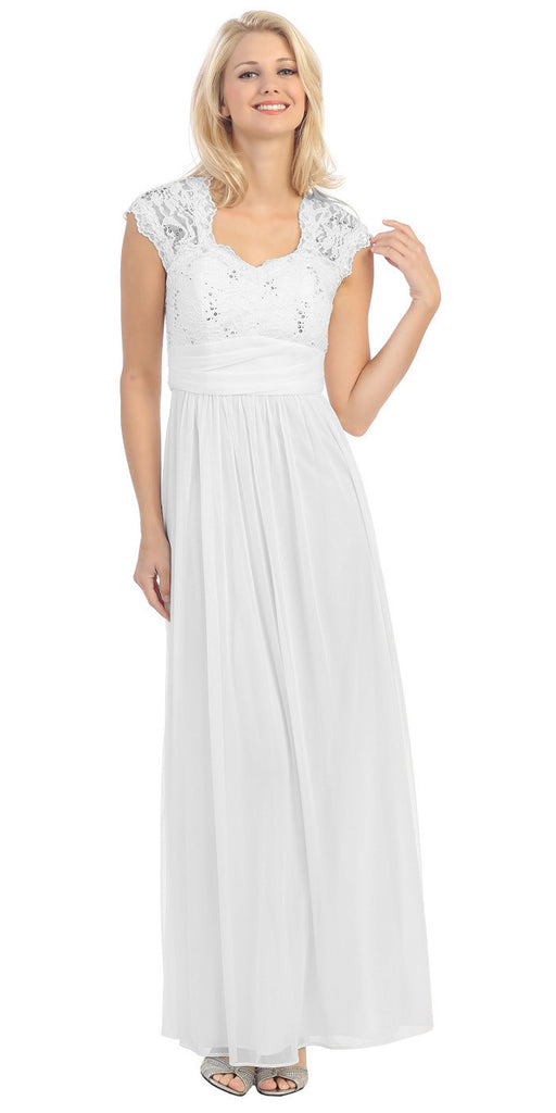 Sweetheart Neck Lace Bodice White Floor Length Dress