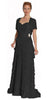 Black Spaghetti Strap Chiffon Formal Dress Multi Ruffle Hem