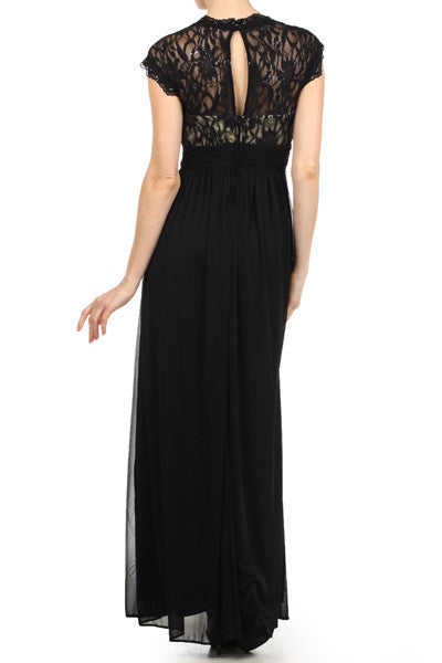 Sweetheart Neck Lace Bodice Black/Nude Floor Length Dress Back