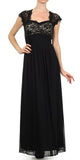 Sweetheart Neck Lace Bodice Black/Nude Floor Length Dress