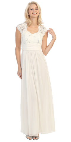 Sweetheart Neck Lace Bodice Ivory Floor Length Dress