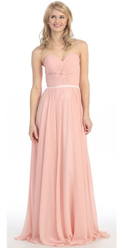 Sweetheart Neck Ruched Bodice Long A Line Dusty Pink Gown