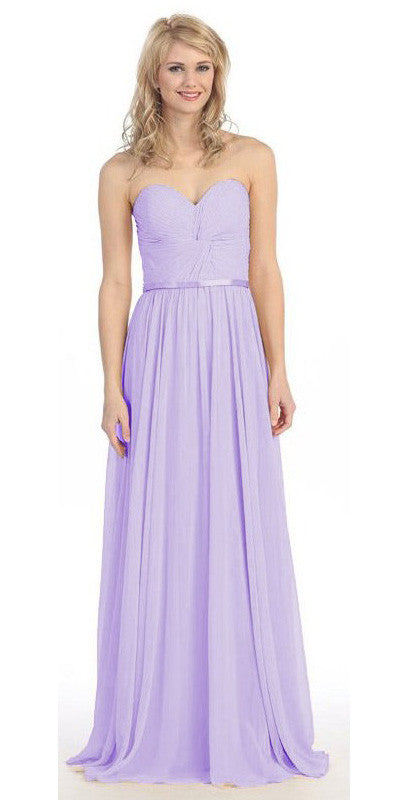 Sweetheart Neck Ruched Bodice Long A Line Lilac Gown
