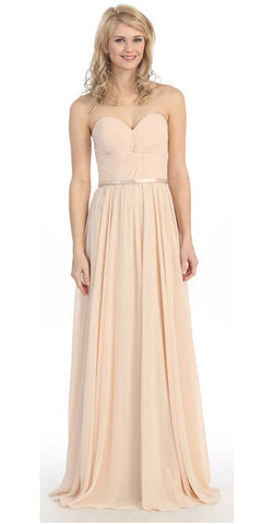 Sweetheart Neck Ruched Bodice Long A Line Champagne Gold Gown