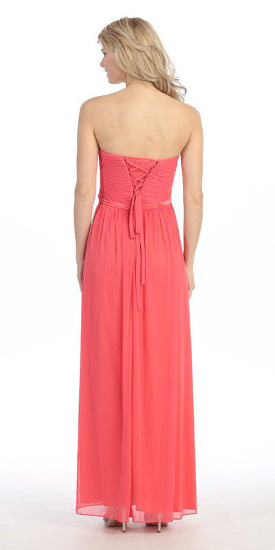 Sweetheart Neck Ruched Bodice Long A Line Coral Gown