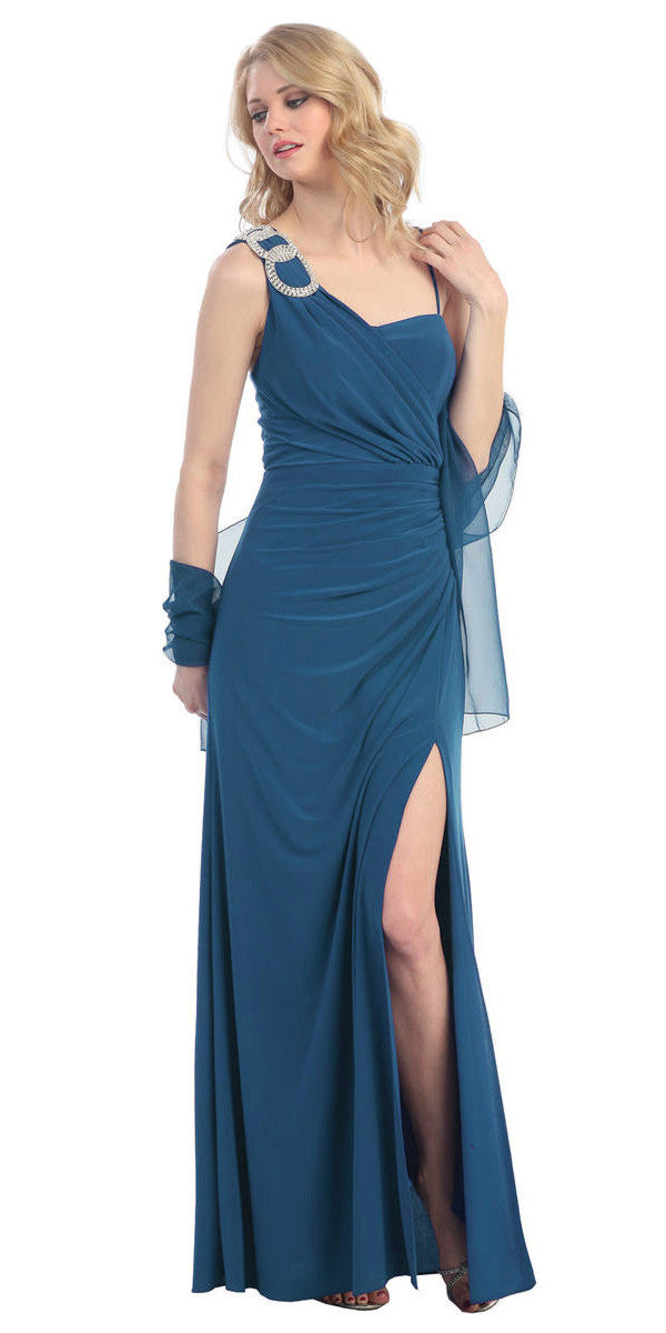 Thigh High Slit Sleeveless Teal Column Prom Gown