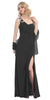 Thigh High Slit Sleeveless Black Column Prom Gown