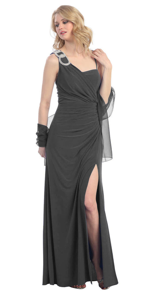 Thigh High Slit Sleeveless Charcoal Column Prom Gown