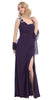 Thigh High Slit Sleeveless Plum Column Prom Gown