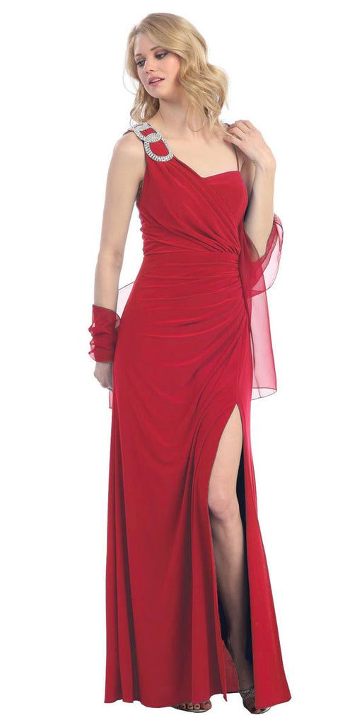 Thigh High Slit Sleeveless Red Column Prom Gown