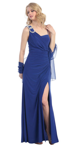 Thigh High Slit Sleeveless Royal Blue Column Prom Gown