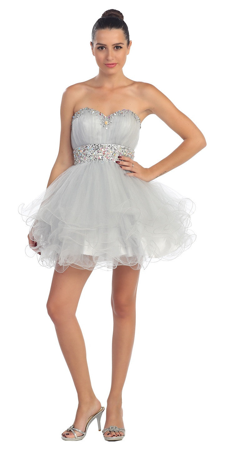 Tiered Ruffled Studded Strapless Short Silver Homecoming Dress