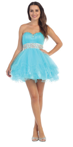 Tiered Ruffled Studded Strapless Short Aqua Homecoming Dress