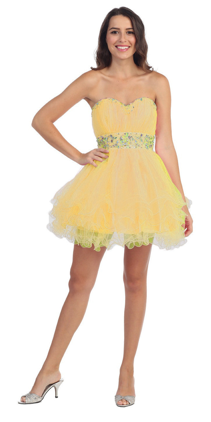 Tiered Ruffled Studded Strapless Short Gold Homecoming Dress
