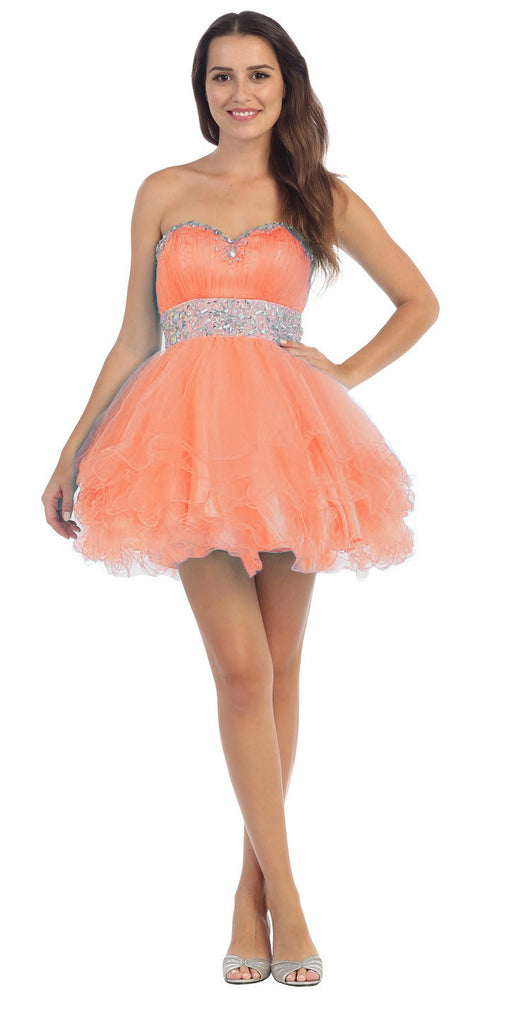 Tiered Ruffled Studded Strapless Short Coral Homecoming Dress