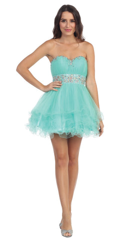 Tiered Ruffled Studded Strapless Short Mint Homecoming Dress