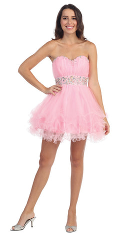 Starbox USA S6099 Beaded Ruched Bust Pink Chiffon A-line Short Prom Dress Sweetheart Neck