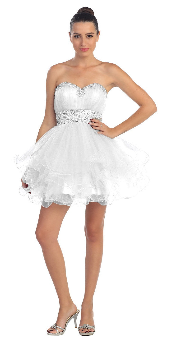 Tiered Ruffled Studded Strapless Short White Homecoming Dress ...