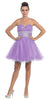 Tulle A Line Skirt Lavender Homecoming Dress Strapless Poofy