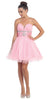 Tulle A Line Skirt Pink Homecoming Dress Strapless Poofy