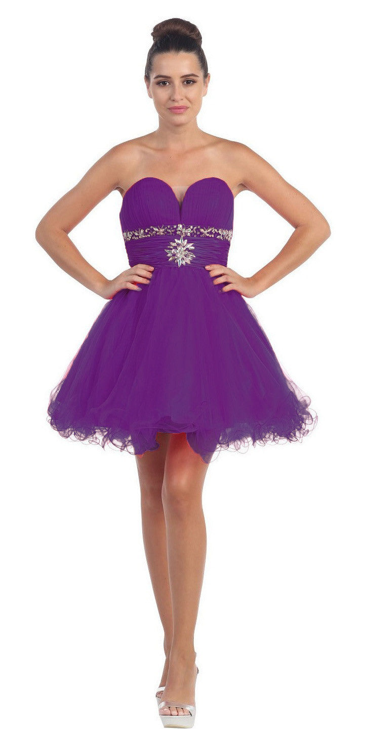 Tulle A Line Skirt Purple Homecoming Dress Strapless Poofy