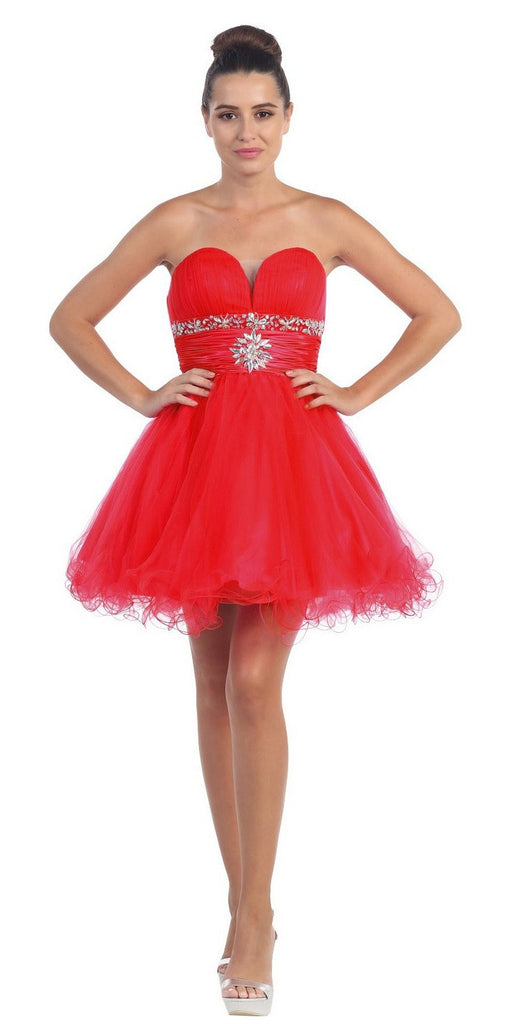 Tulle A Line Skirt Red Homecoming Dress Strapless Poofy