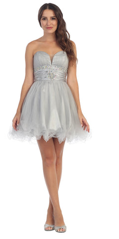 Tulle A Line Skirt Silver Homecoming Dress Strapless Poofy