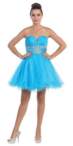 Tulle A Line Skirt Turquoise Homecoming Dress Strapless Poofy