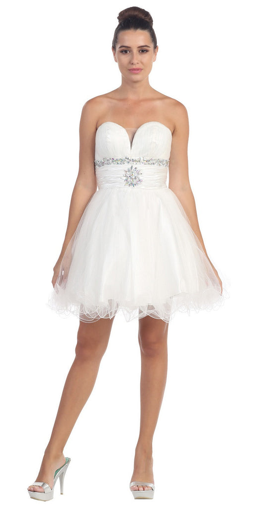 Tulle A Line Skirt White Homecoming Dress Strapless Poofy