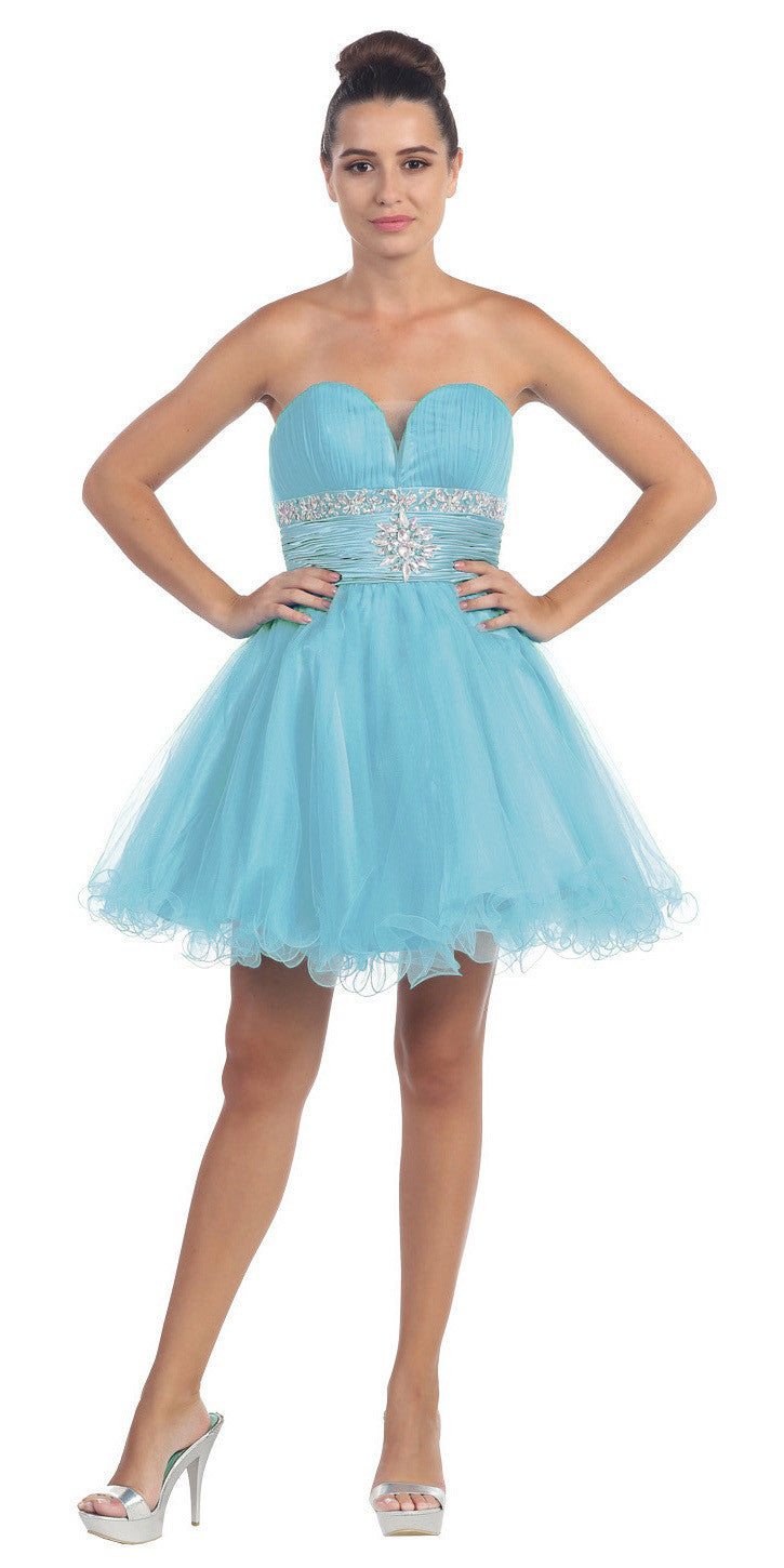 Tulle A Line Skirt Aqua Homecoming Dress Strapless Poofy