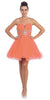 Tulle A Line Skirt Coral Homecoming Dress Strapless Poofy