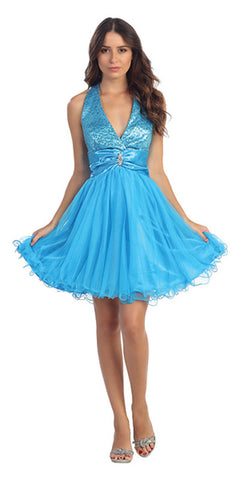 Turquoise Halter Homecoming Dress Sequin Top Mesh Tulle Overlay Skirt