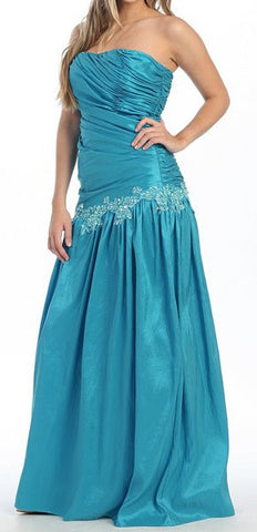 Turquoise Prom Gown Taffeta Strapless Shirred Bodice Full Length