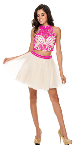 Two Piece Short Dress Fuchsia Tulle Skirt Beaded Top High Neck