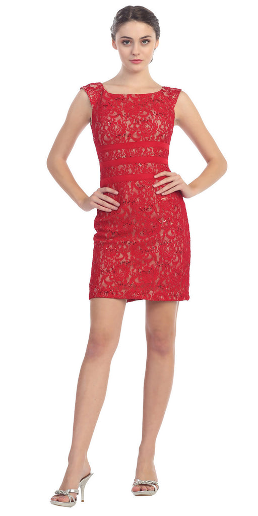Two Tone Red Gold Overlay Short Lace Dress Wide Strap