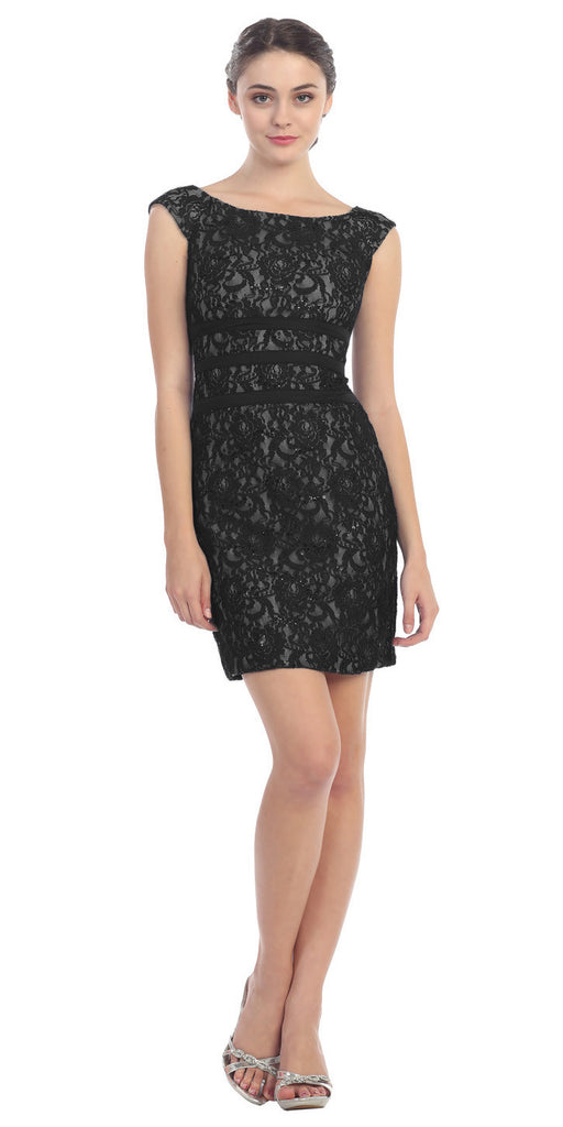 Two Tone Black Gold Overlay Short Lace Dress Wide Strap