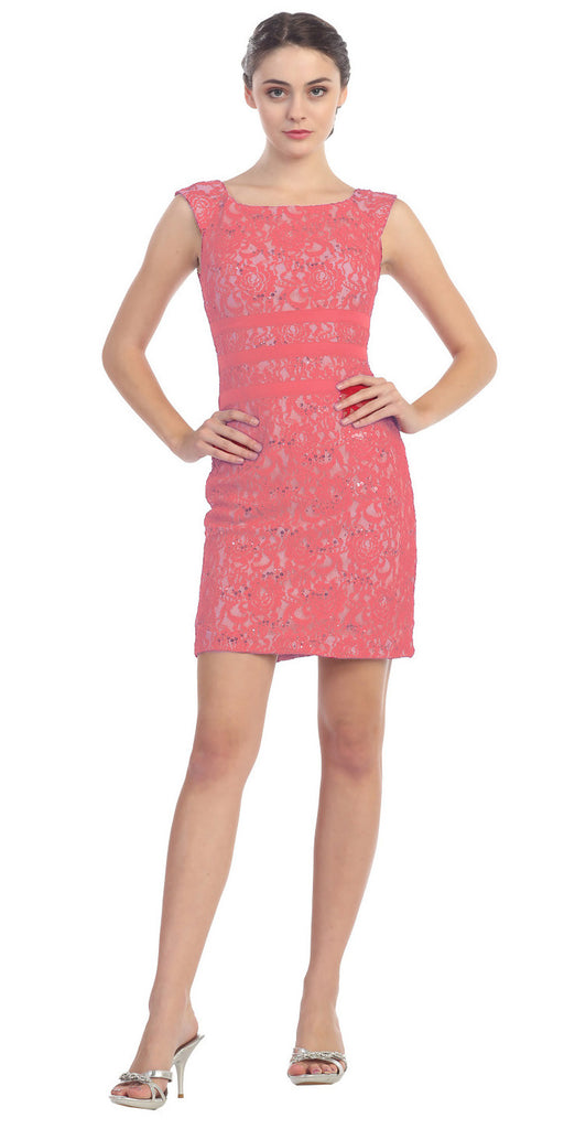 Two Tone Coral Ivory Overlay Short Lace Dress Wide Strap