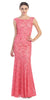 Two Tone Coral Ivory Overlay Lace Dress Mermaid Wide Strap