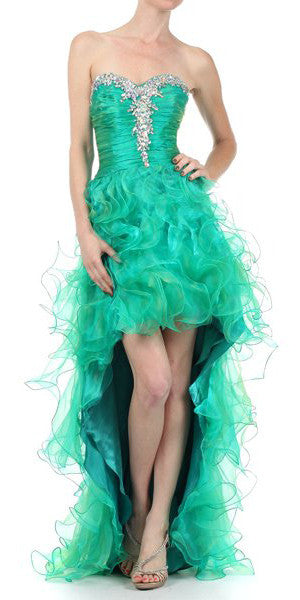 ON SPECIAL - LIMITED STOCK - Two Tone Emerald Green Formal High Low Dress Strapless Ruffle Skirt
