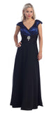 V Back/Neckline Royal Blue Dress Black Cap Sleeves Lace Overlay Gown