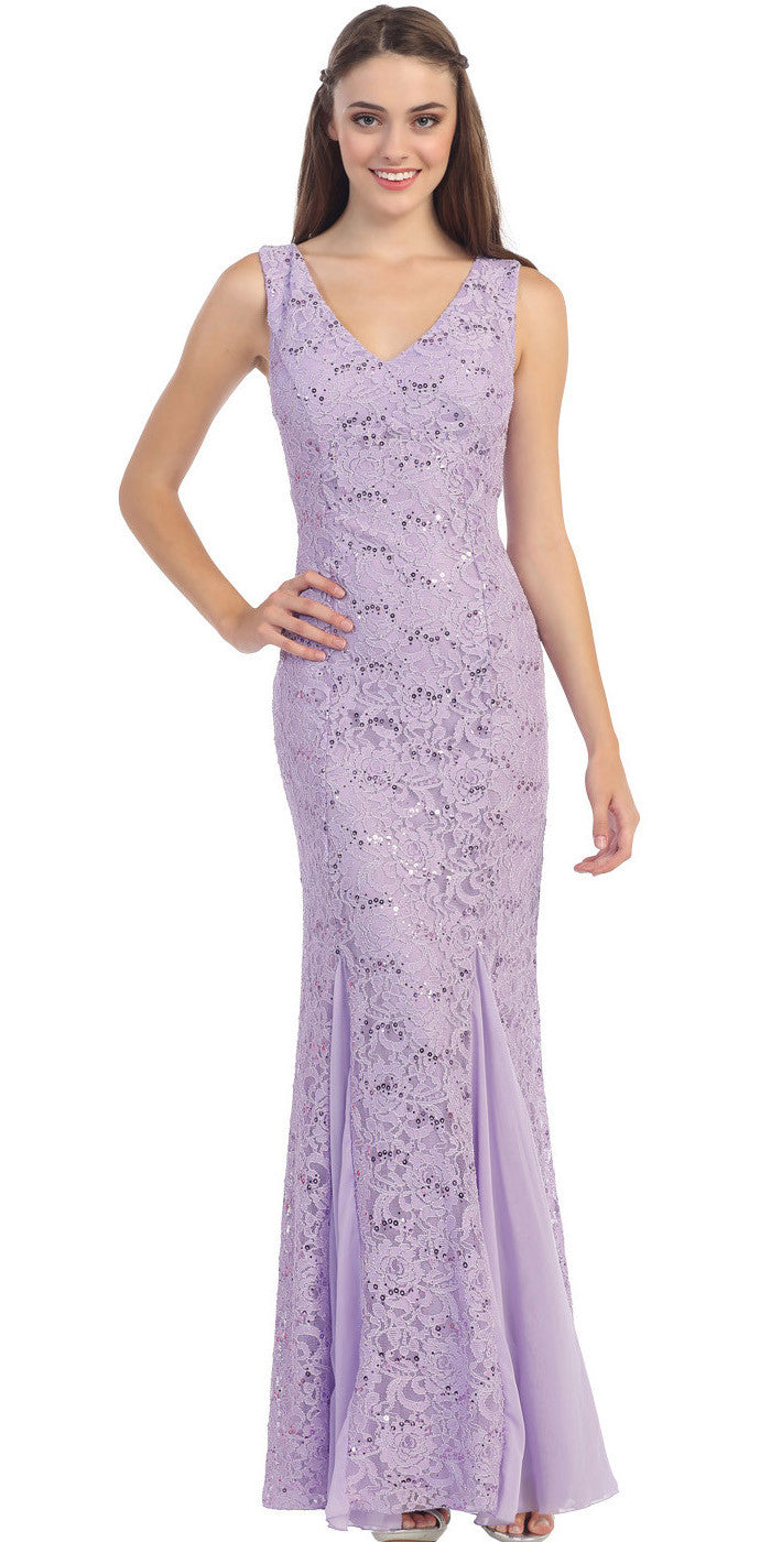 V Neck Sleeveless Floor Length Lilac Mermaid Party Gown