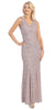 V Neck Sleeveless Floor Length Mocha Mermaid Party Gown