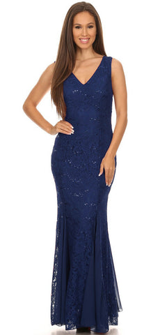 V Neck Sleeveless Floor Length Navy Blue Mermaid Party Gown