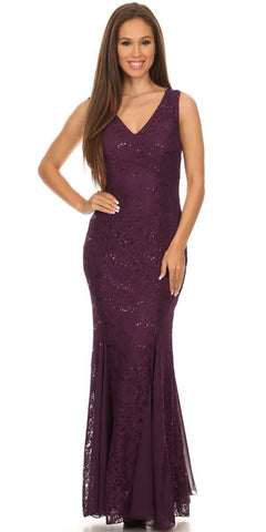 V Neck Sleeveless Floor Length Plum Mermaid Party Gown