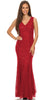 V Neck Sleeveless Floor Length Red Mermaid Party Gown
