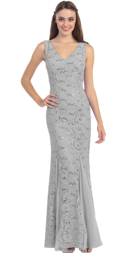 V Neck Sleeveless Floor Length Silver Mermaid Party Gown